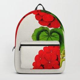 Vintage Scientific Floral Illustration Large Red Flowers Cranesbill Geranium Backpack