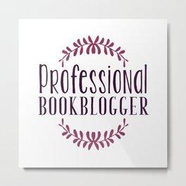 Professional Bookblogger - White w Purple Metal Print