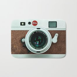 Retro brown leather Vintage camera iPhone 4 5 6 7 8 x, pillow case, mugs and tshirt Bath Mat