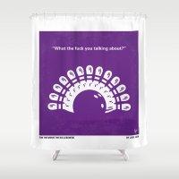 big lebowski Shower Curtains featuring No010 My Big Lebowski minimal movie poster by Chungkong