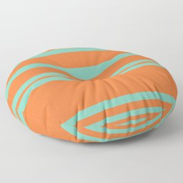 Cyan and Orange Stripes Minimalist Color Block Pattern Floor Pillow