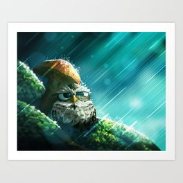 Little Owl Under a Mushroom Art Print