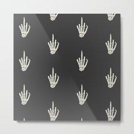 Fuck you middle finger skull ugly Christmas Metal Print