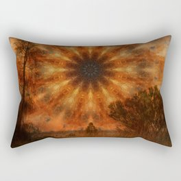 Surreal landscape in corrugated iron mandala Rectangular Pillow