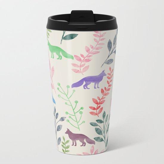 Watercolor Floral & Fox III Metal Travel Mug