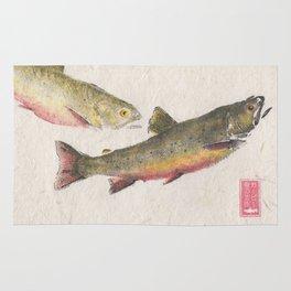 Pair of Brook Trout- Gyotaku Rug