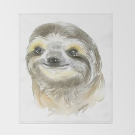 Sloth Face Watercolor Painting Animal Art Throw Blanket