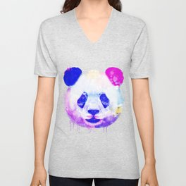 Panda Watercolor, Panda Print, Watercolor Print, Watercolor Animal, Panda Painting, Panda Gift Print Unisex V-Neck