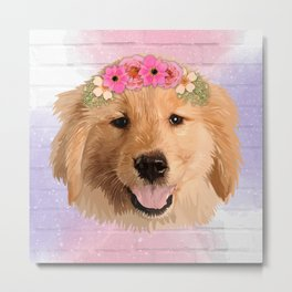 Golden Retriever with Flower Metal Print
