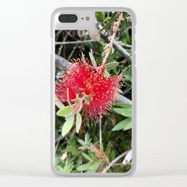 Strange and Beautiful: Red Flower Clear iPhone Case