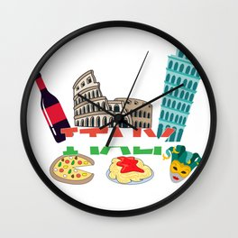 Love Italy and Everything italy Culture Wall Clock