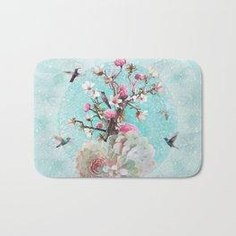 FLORAL HUMMINGBIRD Bath Mat