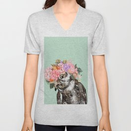 Owl with Flowers Crown in Green Unisex V-Neck