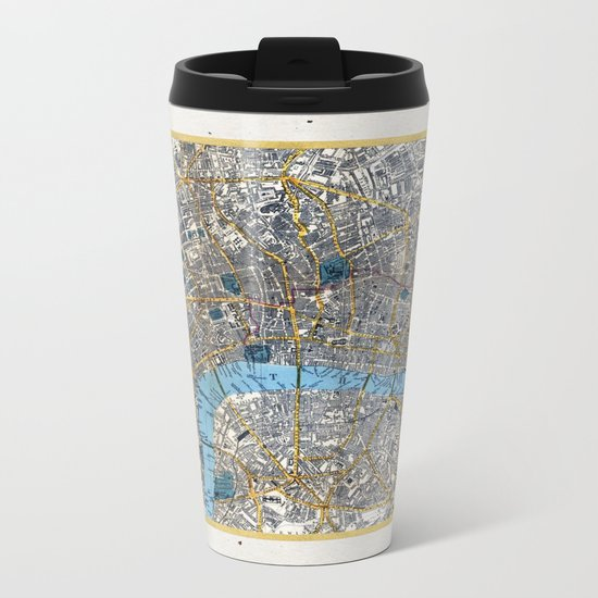 Vintage London Gold Foil Location Coordinates with map Metal Travel Mug
