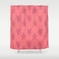 lobster Shower Curtains featuring Pink Lobster by The Wallpaper Files