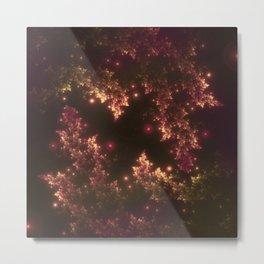 Fractal Leaves Red Glow Metal Print