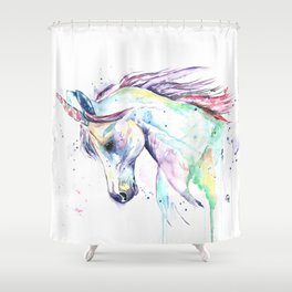 Colorful Unicorn Watercolor Painting - Kenzie's Unicorn Shower Curtain