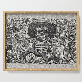Calavera Oaxaqueña - Día de los Muertos - Mexican Day of the Dead by Jose Guadalupe Posada Serving Tray