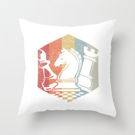 Vintage Chess, Retro Chess Player Gift Throw Pillow