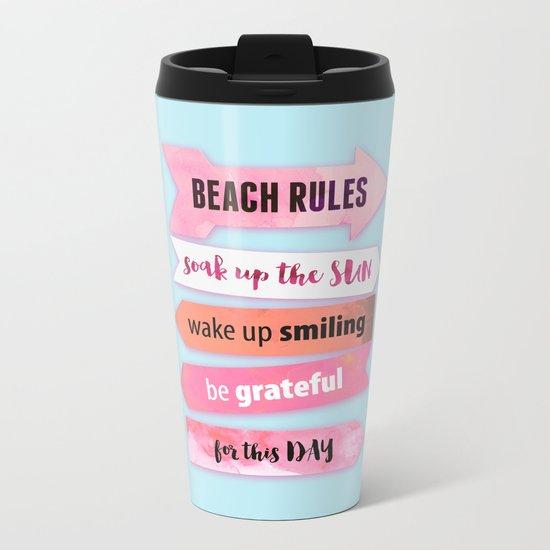 Summer Beach Rules Metal Travel Mug