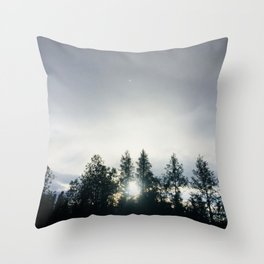 Sun Shining Through Trees Throw Pillow