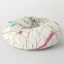 Colorful City Maps: Ottawa, Canada Floor Pillow