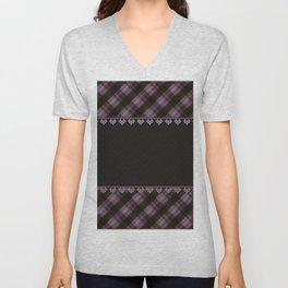 Brown plaid, plaid blanket, brown pattern, patchwork, folklore, rustic style, elegant pattern, plaid Unisex V-Neck