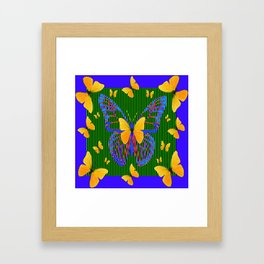 YELLOW BUTTERFLIES  BLUE MODERN ART DESIGN Framed Art Print
