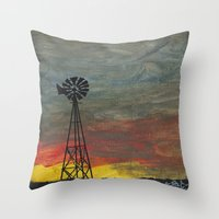 kansas Throw Pillows featuring windmill kansas by BryanCorbinArt
