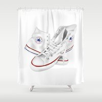 converse Shower Curtains featuring Converse by Kenny Risk