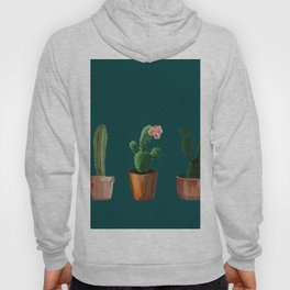 Three Cacti On Green Background Hoody