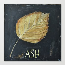Hand-Painted Fall Ash Leaf Canvas Print