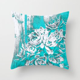 Turquoise Hen & Chick Throw Pillow