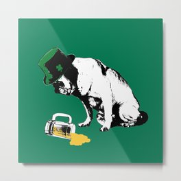 Pug Parties Too Hard Metal Print