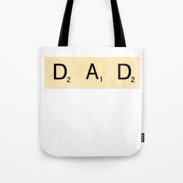 DAD - Horizontal Scrabble Tile Art and Accessories for Father's Day Tote Bag