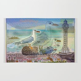 The Seagull and the Lighthouse Rug