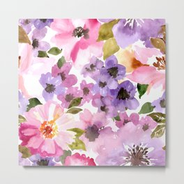 Pink Purple Watercolor Flowers Metal Print