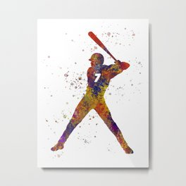 Baseball player isolated 09 in watercolor Metal Print