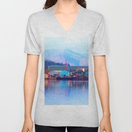 Industrial reflection at mountains edge Unisex V-Neck