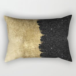 Faux Gold and Black Starry Night Brushstrokes Rectangular Pillow