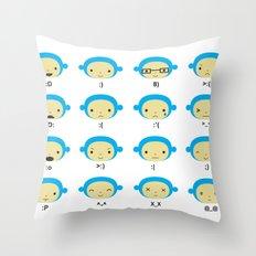 Emoticonal Monkey Throw Pillow