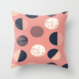 Abstract Circles In Pink Throw Pillow
