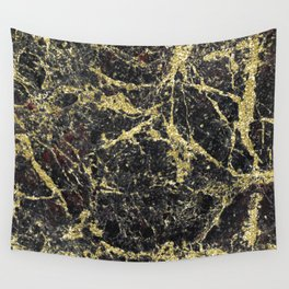 Marble - Glittery Gold Marble on Black Design Wall Tapestry