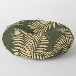 Golden and Green Palm Leaves Floor Pillow