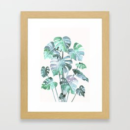 Delicate Monstera Blue And Green #society6 Framed Art Print