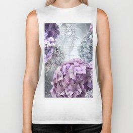 Purple Vintage Flower Hydrangea Hortensia Collage Biker Tank