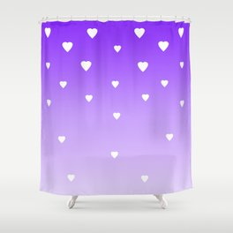 Purple Ombre with White Hearts Shower Curtain