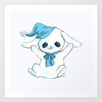 cuddle Art Prints featuring Cuddle Bunny by Cat in the Box