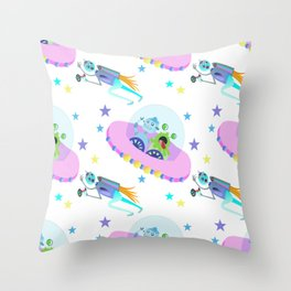 Outerspace Traffic Jam Throw Pillow
