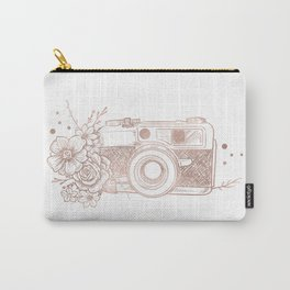 Floral Camera Pink Rose Gold Carry-All Pouch
